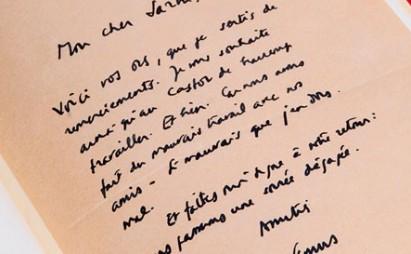 Surat Camus untuk Sartre. | Foto: LIBRARIE WALDEN/AFP/GETTY IMAGES